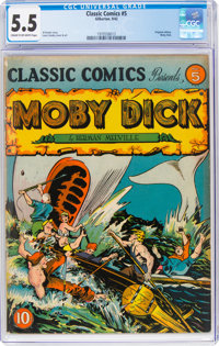 Classic Comics #5 Moby Dick - First Edition (Gilberton, 1942) CGC FN- 5.5 Cream to off-white pages