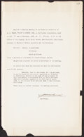 Autographs:Letters, 1929 George Wright Signed Document....