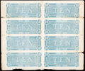 Confederate Notes:1864 Issues, T68 $10 1864 Uncut Sheet of Eight Backs Very Fine.. ...