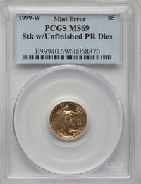 1999-W $5 Tenth-Ounce Gold Eagle, Unfinished Proof Dies, MS69 PCGS. PCGS Population: (1906/55). NGC Census: (2539/381)...
