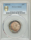 1919-S 25C MS61 PCGS. PCGS Population: (3/165 and 0/4+). NGC Census: (3/118 and 0/2+). CDN: $1,350 Whsle. Bid for proble...