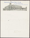 Autographs:Letters, 1916 Connie Mack Signed Letter....