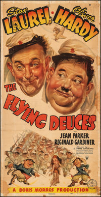 "The Flying Deuces (RKO, 1939). Good-, Folded on European Linen. Three Sheet (40.5"" X 78.75""). Comedy"