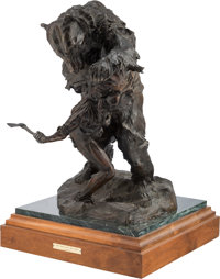 Fritz White (American, 1930) The Crow and The Bear Bronze with brown patina 28 inches (71.1 cm) h