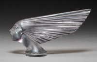 R. Lalique Victoire Clear and Frosted Amethyst Glass Automobile Mascot, circa 1928