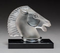 Glass, R. Lalique Frosted and Clear Grey Glass Longchamp-B Automobile Mascot on Original Glass Bookend Base, circa 1929...