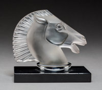 R. Lalique Frosted and Clear Grey Glass Longchamp-B Automobile Mascot on Original Glass Book