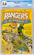 Golden Age (1938-1955):War, Rangers Comics #1 (Fiction House, 1941) CGC GD/VG 3.0 Slightly brittle pages....