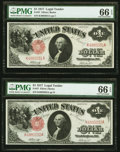 Fr. 37 $1 1917 Legal Tenders Two Consecutive Examples PMG Gem Uncirculated 66 EPQ