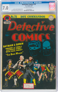 Detective Comics #78 (DC, 1943) CGC FN/VF 7.0 Off-white to white pages
