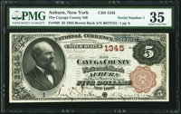 Auburn, NY - $5 1882 Brown Back Fr. 469 The Cayuga County National Bank Ch. # 1345 PMG Choice Very Fine