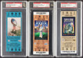 Football Collectibles:Tickets, 2002-15 Tom Brady Super Bowl Victory Full Ticket Lot of 4, with 2 Graded NM 7 & 1 Graded NM-MT 8 by PSA....