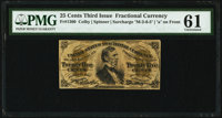 Fr. 1300 25¢ Third Issue PMG Uncirculated 61
