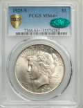 Peace Dollars, 1925-S $1 MS64+ PCGS. CAC. PCGS Population: (2175/44 and 262/0+). NGC Census: (1606/74 and 84/2+). CDN: $475 Whsle. Bid for...