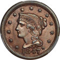 Large Cents, 1847 1C Large Over Small 47, N-2, R.3, MS64+ Brown PCGS. CAC....