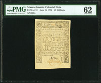 Massachusetts June 18, 1776 42s or $7 Fr. MA-212 PMG Uncirculated 62