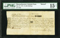 Colonial Notes:Massachusetts, Massachusetts Bay May 25, 1775 15s Raised to 40s Fr. MA-145 (as a 15s) PMG Choice Fine 15 Net.. ...