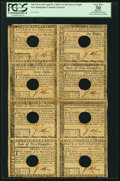 Colonial Notes:New Hampshire, State of New Hampshire April 29, 1780 $5-$7-$8-$20-$1-$2-$3-$4 Uncut Sheet PCGS Apparent Very Fine 30.. ...