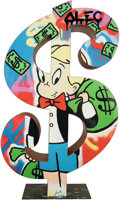 Sculpture, Alec Monopoly (b. 1986). Dollar Richie with Money Bag, 2017. Spray paint and acrylic on steel . 36 x 10 x 8 inches (91.4...