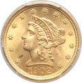 Liberty Quarter Eagles, 1902 $2 1/2 MS66+ PCGS. PCGS Population: (168/53 and 5/5+). NGC Census: (159/69 and 10/1+). MS66. Mintage 133,500....
