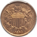 Two Cent Pieces, 1864 2C Large Motto MS66 Red and Brown PCGS. PCGS Population: (40/0). NGC Census: (97/3). CDN: $1,050 Whsle. Bid for proble...