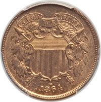 1864 2C Large Motto MS66 Red and Brown PCGS. PCGS Population: (40/0). NGC Census: (97/3). CDN: $1,050 Whsle. Bid for pro...