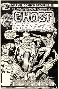 Rich Buckler, Dan Adkins, and John Romita Sr. Ghost Rider #18 Spider-Man Cover Original Art (Marvel, 1976)