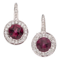 Garnet, Diamond, White Gold Earrings