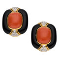 Estate Jewelry:Earrings, Coral, Diamond, Black Onyx, Gold Earrings. ...