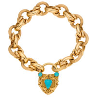 Turquoise, Gold Locket-Bracelet