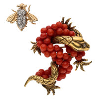 Diamond, Coral, Gold Brooches ... (Total: 2)