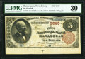 National Bank Notes:New Jersey, Manasquan, NJ - $5 1882 Brown Back Fr. 467 The First National Bank Ch. # 3040 PMG Very Fine 30.. ...