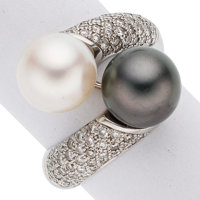 Cultured Pearl, Diamond, White Gold Ring