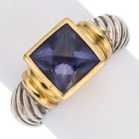 Iolite, Gold, Sterling Silver Ring, David Yurman