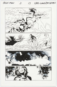 Greg Land and Jay Leisten Iron Man #3 Story Page 13 Original Art (Marvel Comics, 2013)