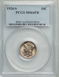 Mercury Dimes, 1924-S 10C MS64 Full Bands PCGS....