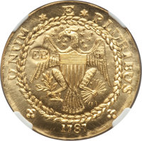 """""""1787"""" Ephraim Brasher """"EB"""" Doubloon NGC. 26.4 gm, .9999 fine gold. Private issue struck 2014"""