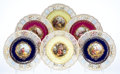 Ceramics & Porcelain, Twelve Meissen Enameled and Partial Gilt Porcelain Plates with Reticulated Rims, Meissen, Germany, 19th century. Marks: (cro... (Total: 12 Items)