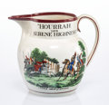 Ceramics & Porcelain, A British Pearlware Pitcher Commemorating the Fire of Moscow, Staffordshire, England, circa 1812. 7-1/2 x 8-1/4 x 6-3/4 inch...