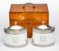 Silver & Vertu, A Pair of William Frisbee Silver Tea Caddies in Maple and Silver Case, London, 1794. Marks: (lion passant), (crowned leopard...