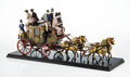 Collectible, A Wood and Metal Model of The Comet Horse-Drawn Carriage, mid-19th century. 11-1/2 x 25-3/4 x 8-1/4 inches (29.2 x 65.4 x 21...