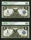 Large Size:Silver Certificates, Fr. 233 $1 1899 Silver Certificates Two Consecutive Examples PMG Gem Uncirculated 66 EPQ.. ... (Total: 2 notes)
