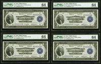 Fr. 710 $1 1918 Federal Reserve Bank Note PMG Choice Uncirculated 64 Cut Sheet of Four