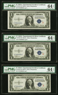 Small Size:Silver Certificates, Fr. 1610 $1 1935A S Silver Certificates. PMG Gem Uncirculated 65 EPQ, Choice Uncirculated 64 EPQ (5) Cut Half Sheet of Six.... (Total: 6 notes)