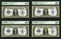 Large Size:Silver Certificates, Fr. 239 $1 1923 Silver Certificate PMG Gem Uncirculated 66 EPQ (2), Gem Uncirculated 65 (2) Cut Sheet of Four.. ... (Total: 4 notes)