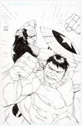 Original Comic Art:Illustrations, Khoi Pham - Captain America and The Hulk Speciality Illust...