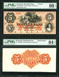 Obsoletes By State:Kentucky, Bowling Green, KY- Peoples Bank $5 18__ G38a /UNL as Hughes 77 Face and Back Proofs PMG Gem Uncirculated 66 EPQ; PMG Choic... (Total: 2 notes)