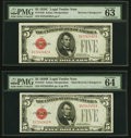 Small Size:Legal Tender Notes, Reverse Changeover Pair Fr. 1528/1527 $5 1928C/1928B Mule Legal Tender Notes. PMG Choice Uncirculated 63 EPQ; Choice Uncircula... (Total: 2 notes)