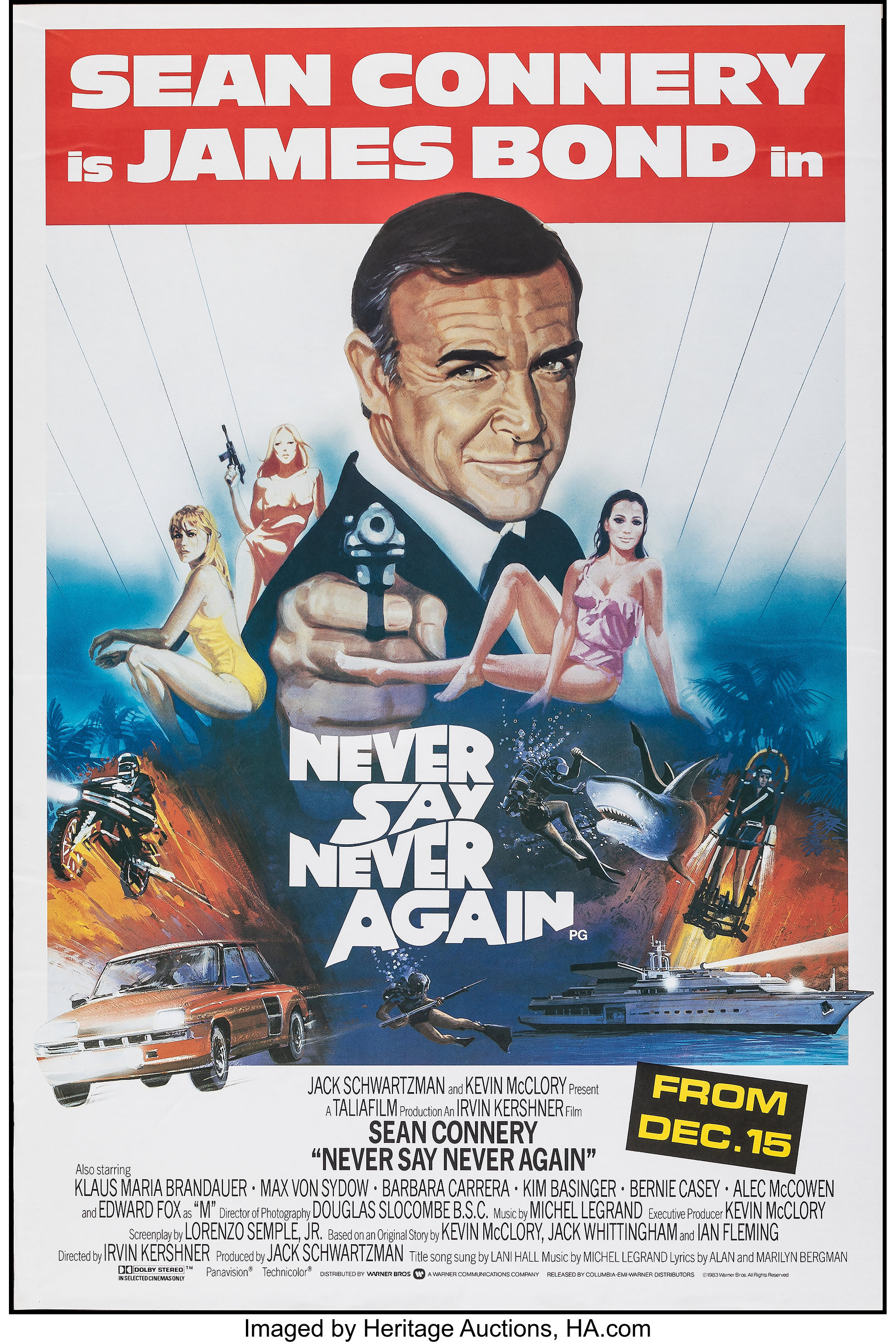 Never Say Never Again (Warner Bros., 1983). Rolled, Very Fine+ ...