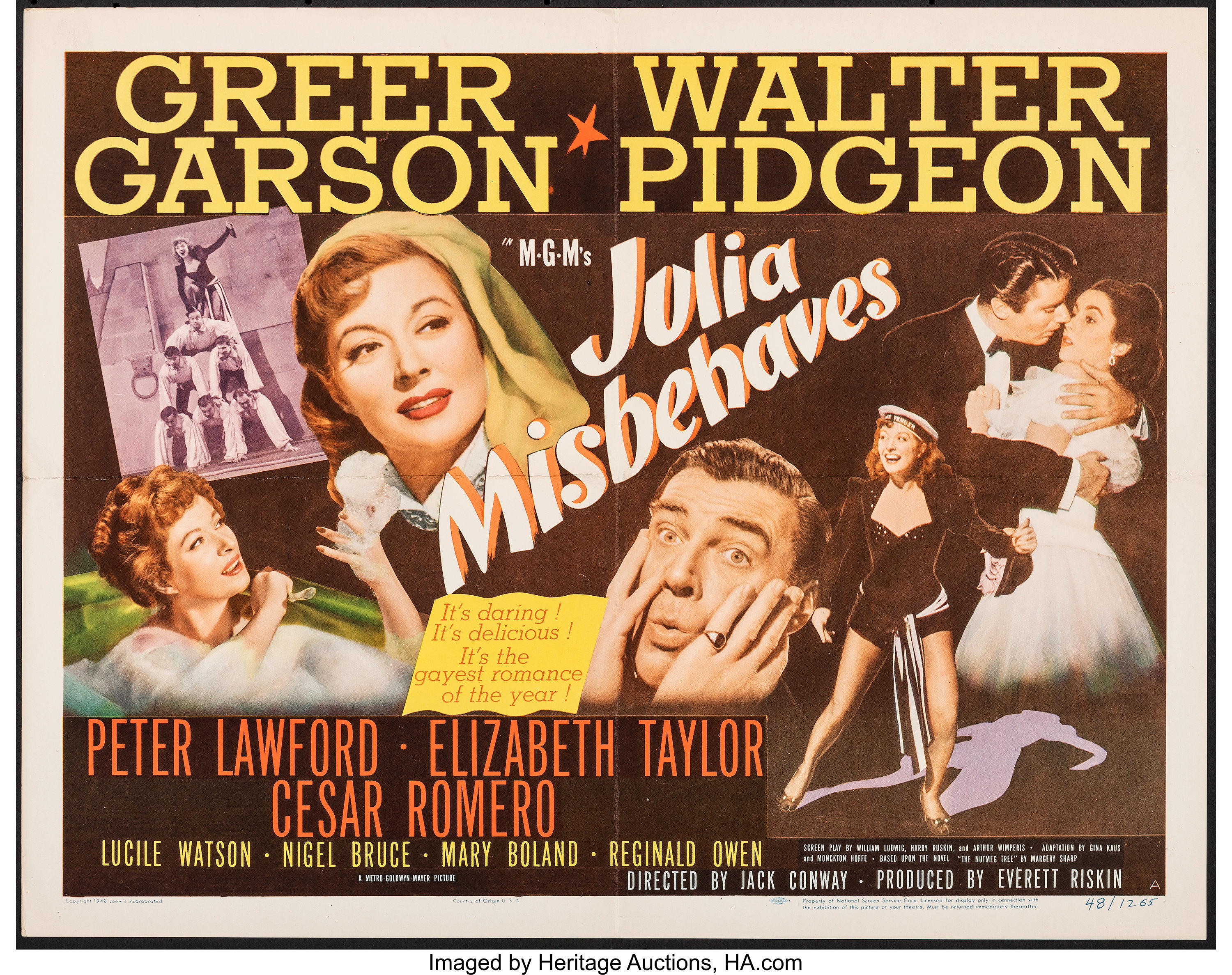 Julia Misbehaves (MGM, 1948). Folded, Very Fine. Half Sheets (2 ...